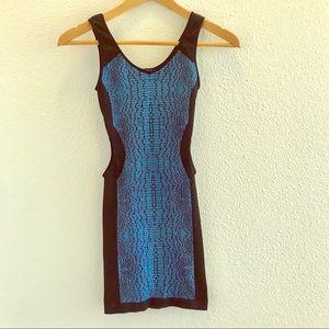 Blue and Black Patterned Bebe Dress
